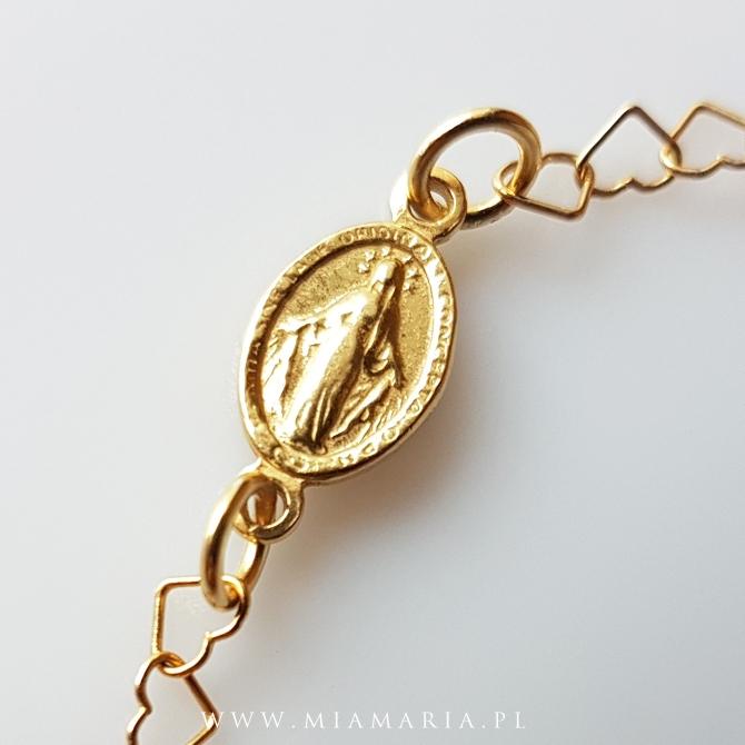 Bransoletka z Cudownym Medalikiem (serduszka)