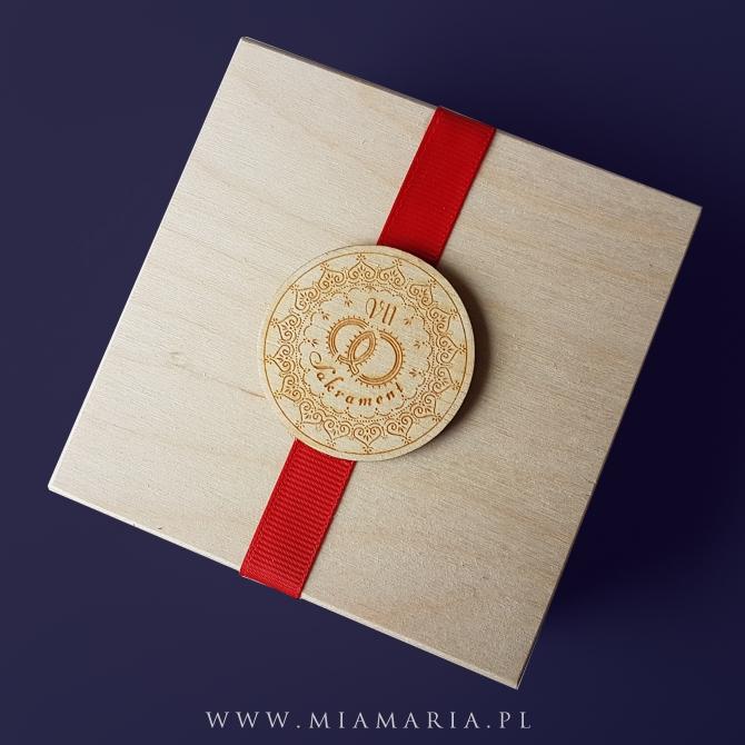 Drewniana skrzyneczka - Sakrament Małżenstwa (Mia Maria)